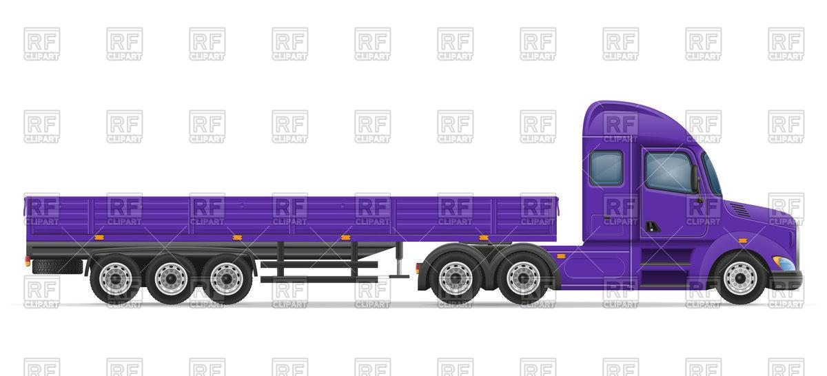 Violet truck semi trailer for transportation of goods Vector Image.