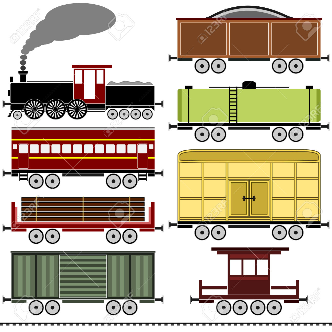 A Vintage Steam Locomotive Train Set With A Variety Of Freight.