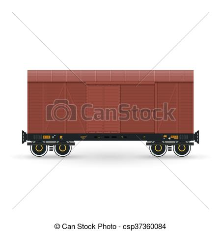 Vector of Closed Wagon Isolated on White.