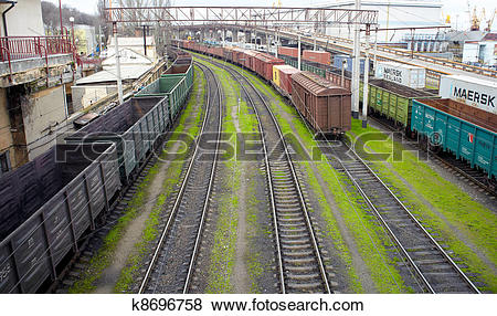 Pictures of Goods wagons with coal dust k8696758.