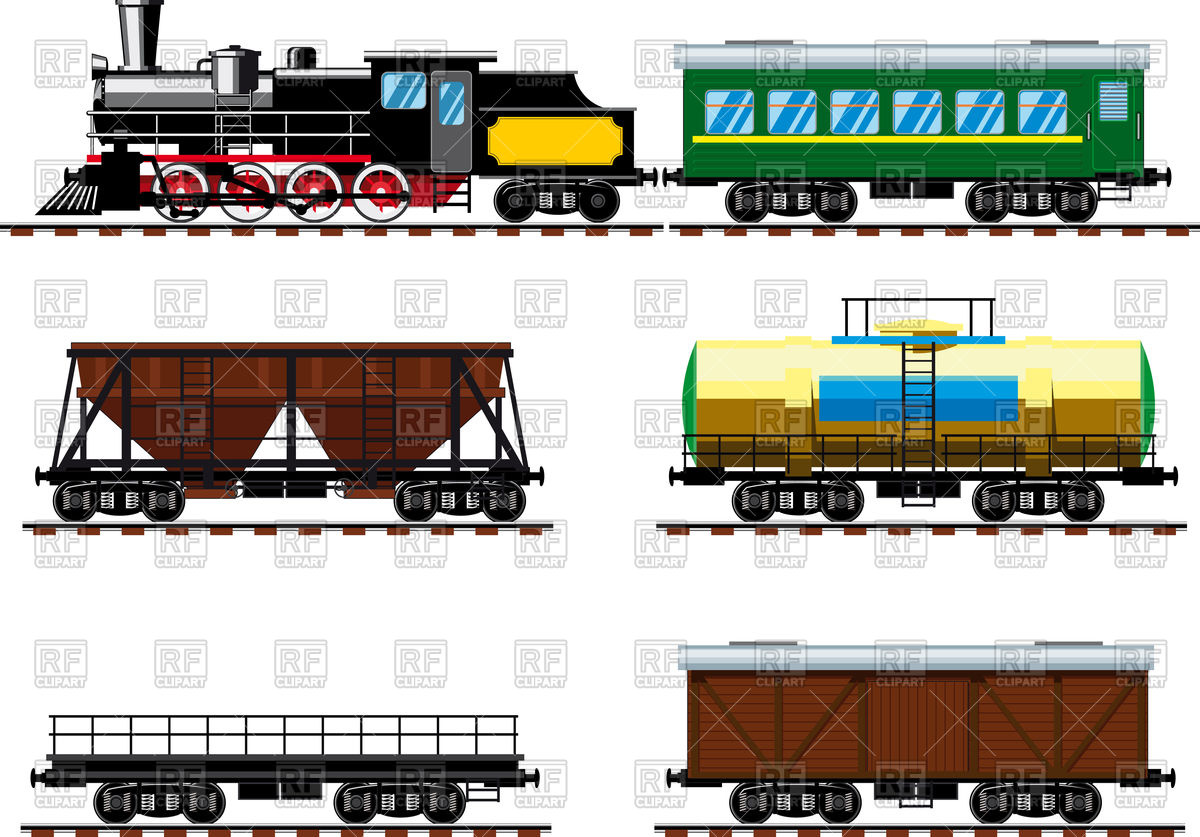 Old steam locomotive with wagons Vector Image #86896.