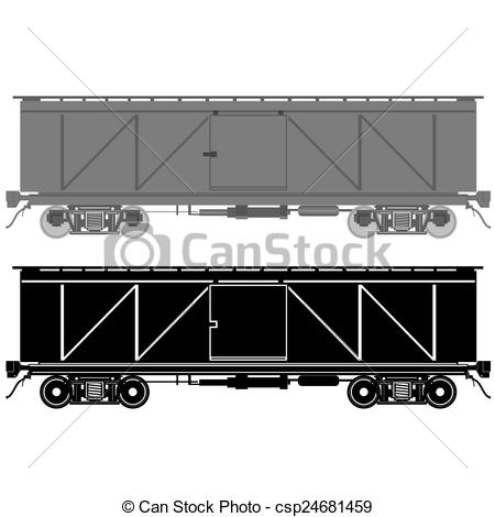 Clipart Vector of Railway wagons for transportation of goods. The.
