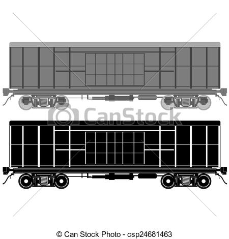 Clip Art Vector of Railway wagon.