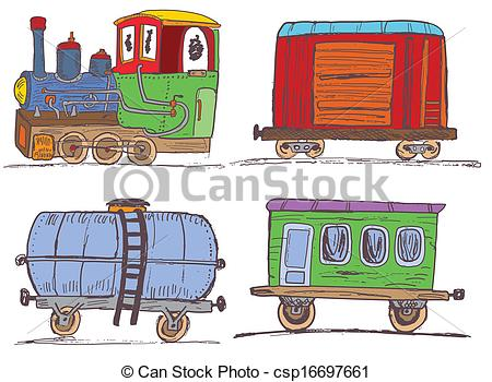 Clip Art Vector of vintage train with wagons.