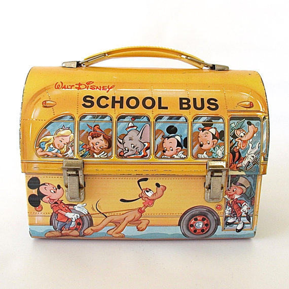 Vintage 1960's Disney Dome Lunch Box. Yellow.
