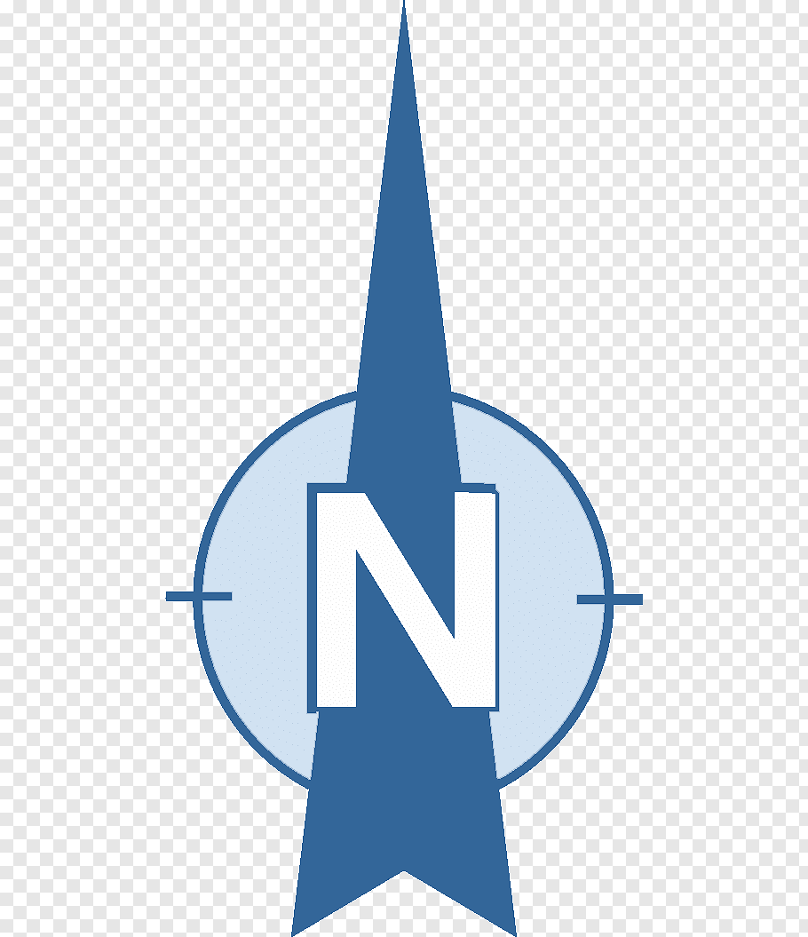 Blue and white N with arrow logo, North Arrow Compass rose.