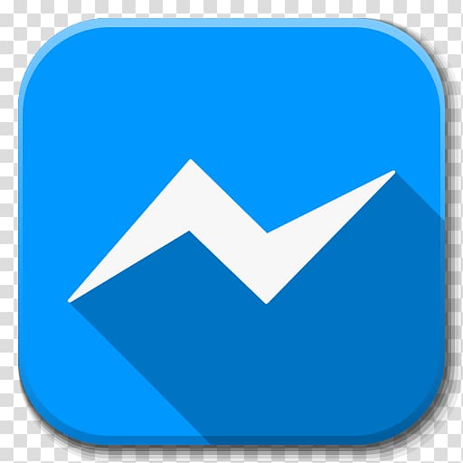 Messenger logo, blue angle area symbol, Apps Facebook.