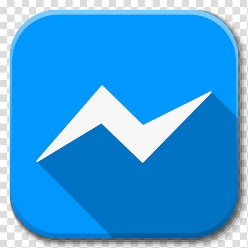 Messenger logo, blue angle area symbol, Apps Facebook.
