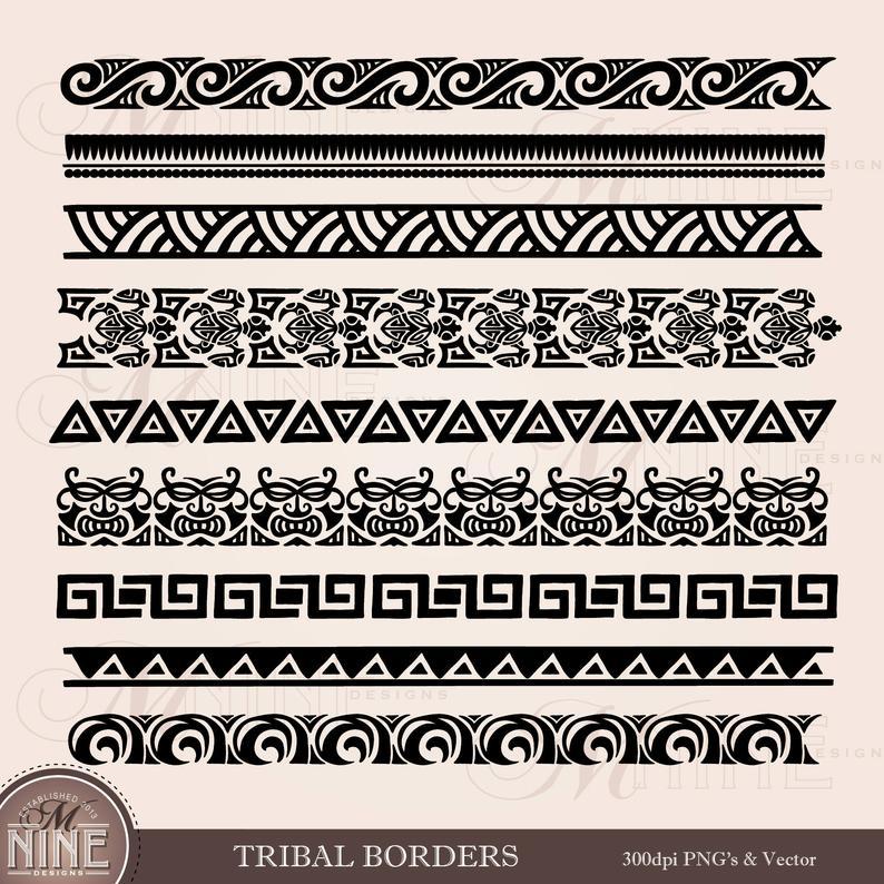 TRIBAL BORDERS Clipart / Polynesian Clipart Borders / Moana Clipart, Tribal  Tattoo Clip Art Borders, Hawaiian Border Clipart.