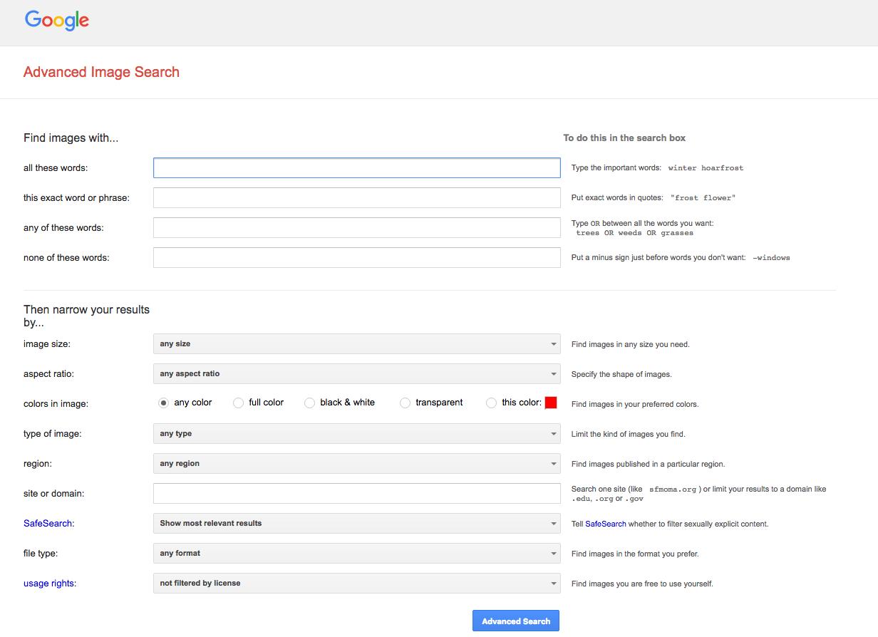 Google Clipart Advanced Search.