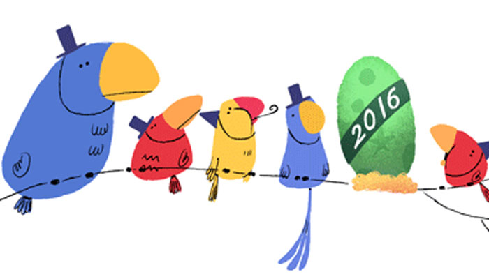 Happy New Year from Google! The Internet giant celebrates.