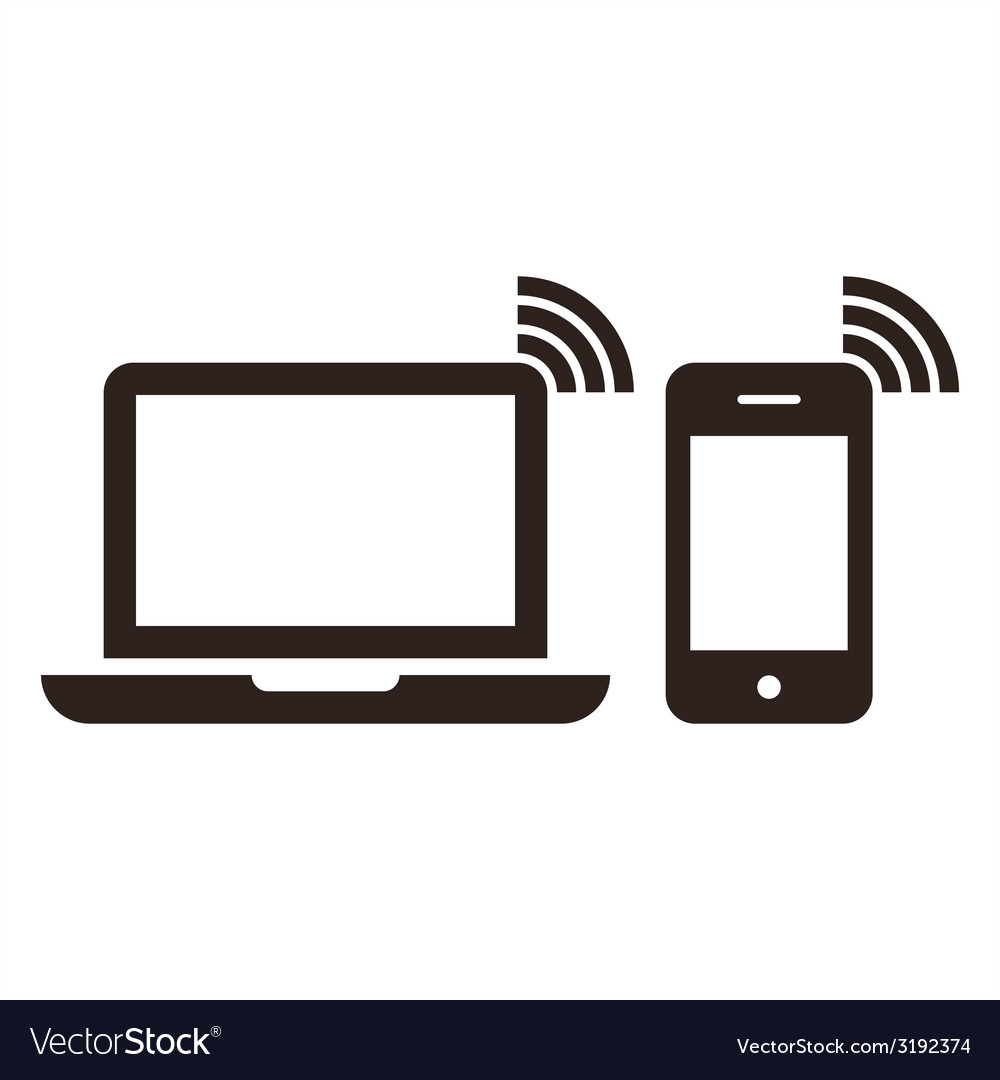 Laptop mobile phone and wireless network icon.