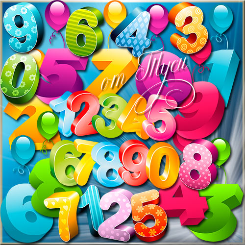 Numbers Clipart PSD the numbers of leaves free download.