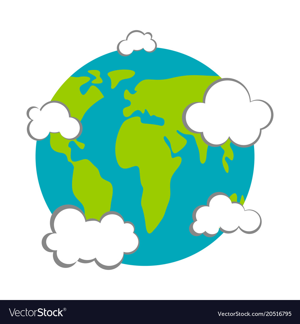 Earth with clouds icon earth day.
