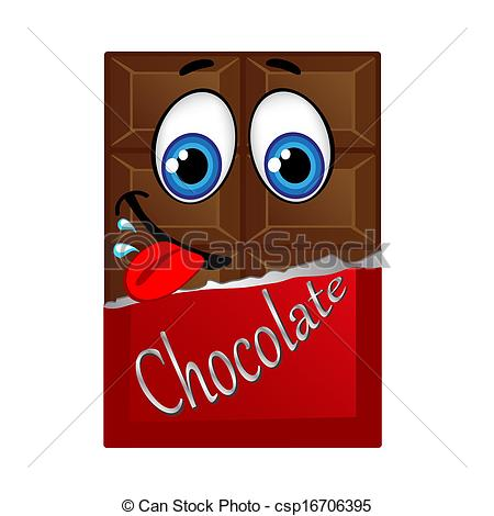 EPS Vectors of Milk chocolate with eyes and smile, vector.