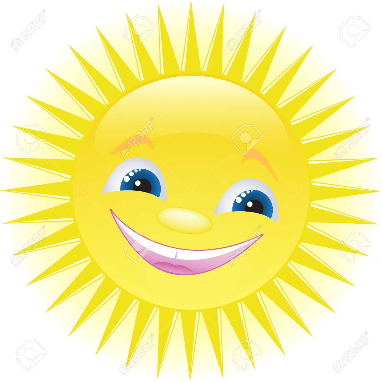 Funny Smiling Sun With Blue Eyes Royalty Free Cliparts, Vectors.