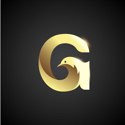 Gold Letter G With Dove Logo Concept.