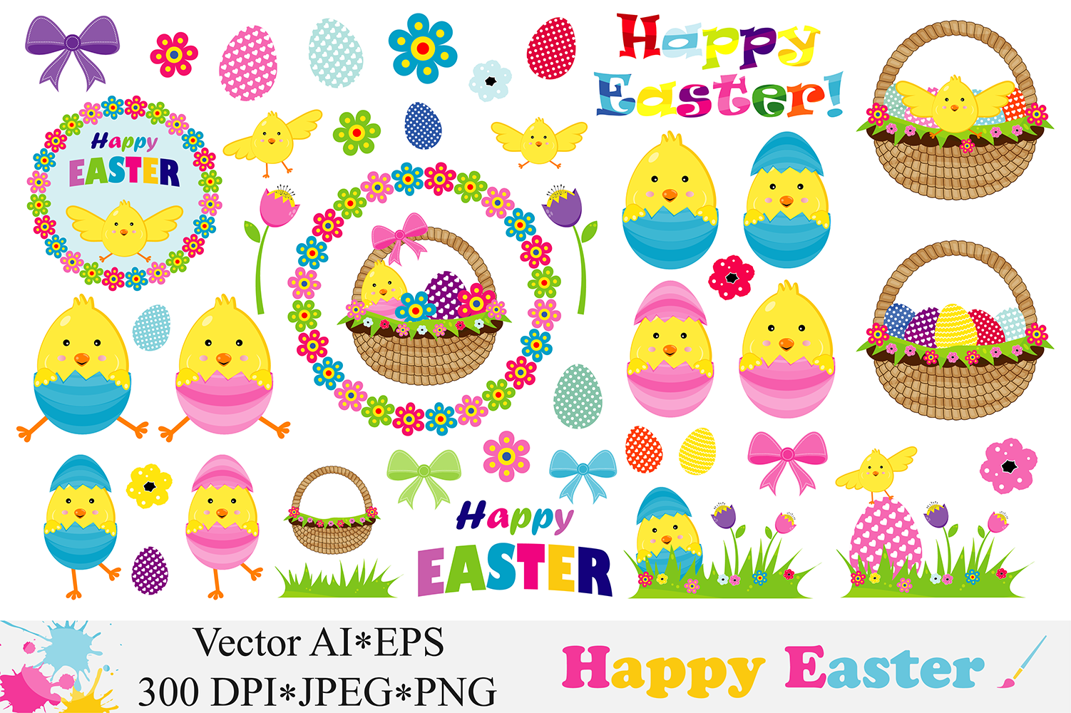 Happy Easter Clipart Illustrations.