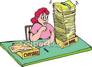 Worker with a Full Inbox Clip Art Royalty Free Clipart Picture.