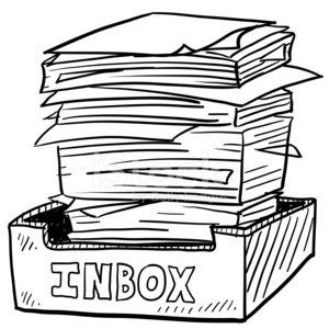 Full inbox workplace sketch Clipart Image.