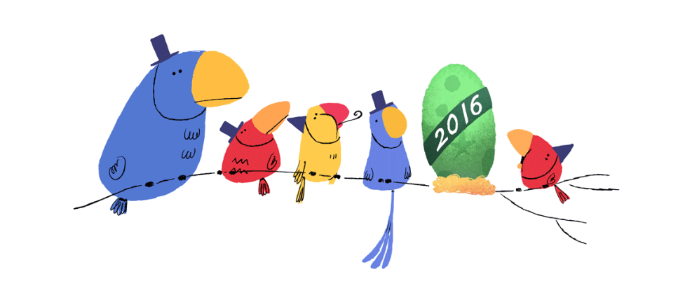 New Google Doodle Marks New Year\'s Eve 2015.