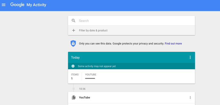 Google's new My Activity page now displays your whole online life.