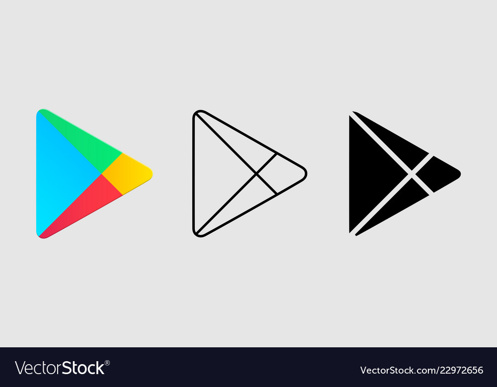 Social media icon set for google play in different.