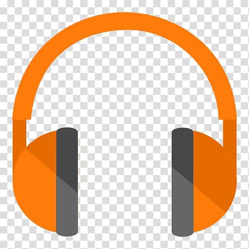 Orange and gray headphone logo, angle brand headphones font.