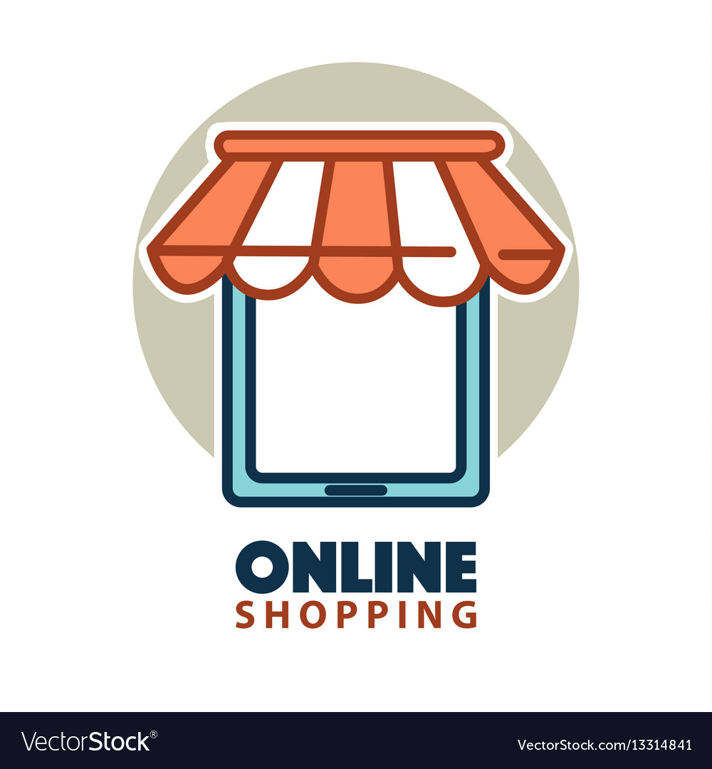 Online shopping logo design with a tablet under.