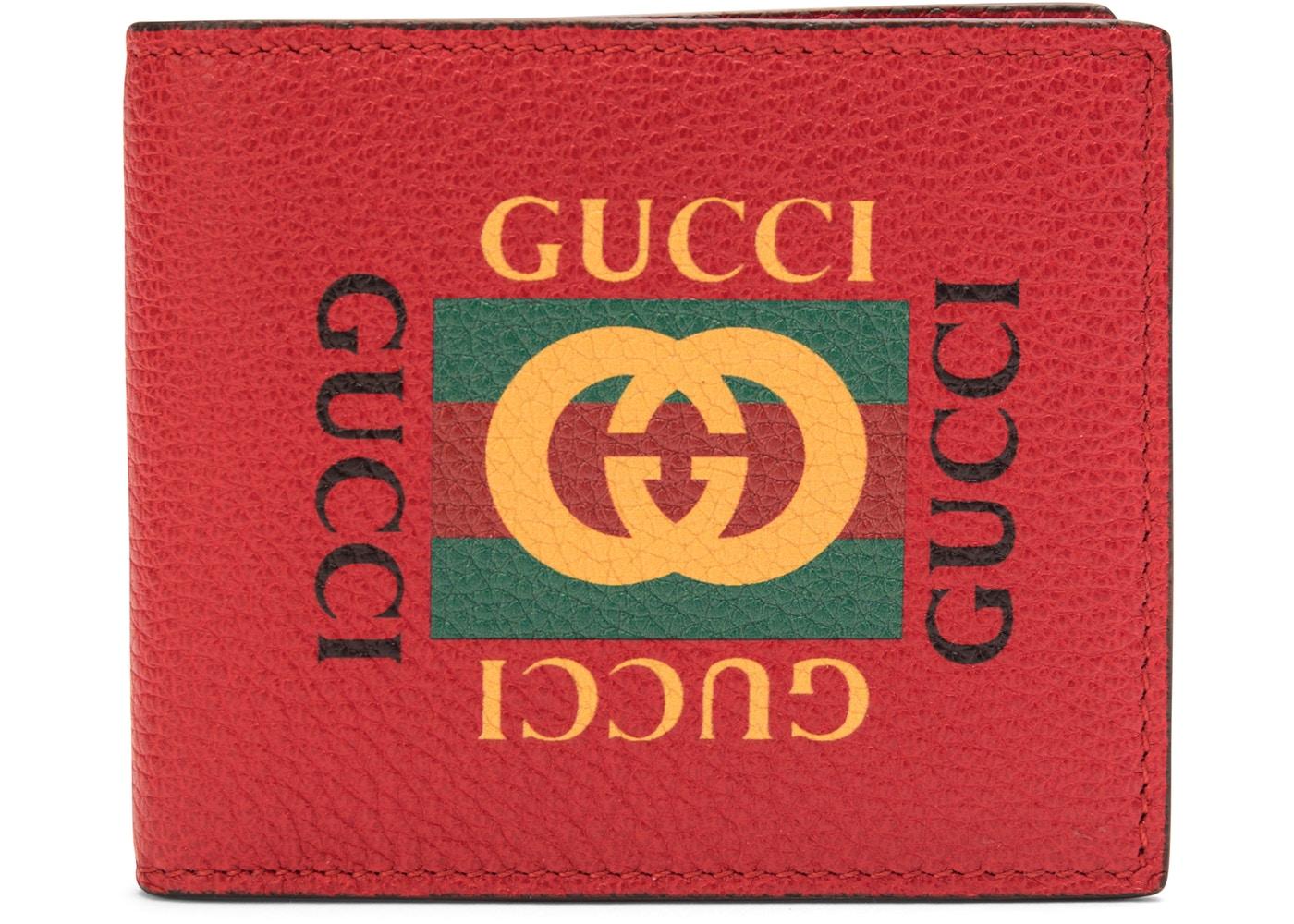 Gucci Logo Bifold Wallet Red.