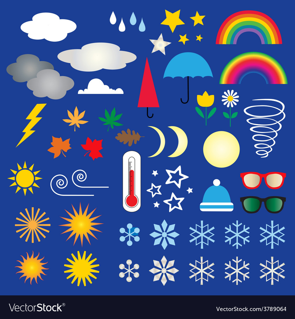 Weather icons clipart.