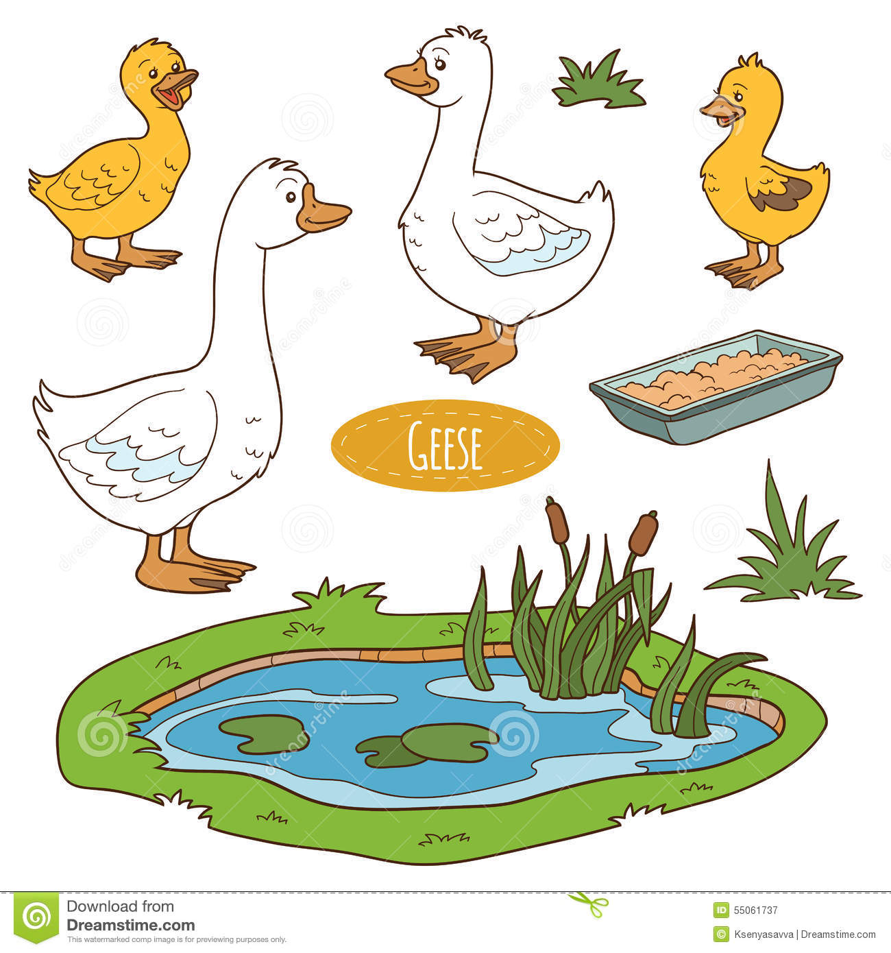 Set Of Cute Farm Animals And Objects, Vector Goose Family Stock.