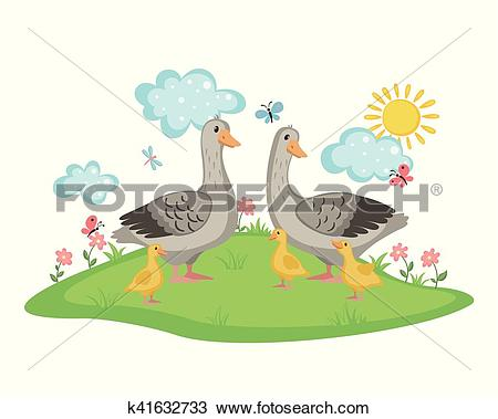 Clipart of Happy goose family. k41632733.