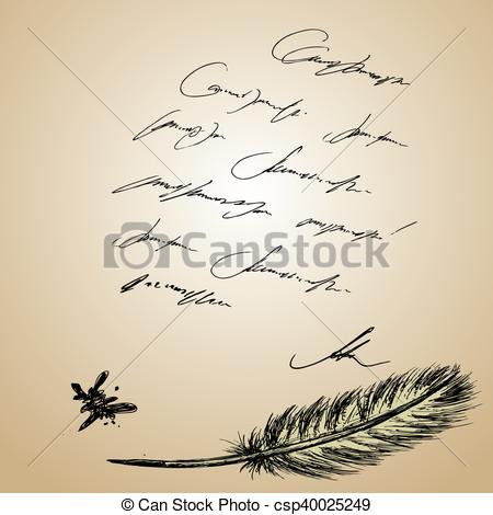EPS Vector of Goose feather and old paper with inscription, hand.