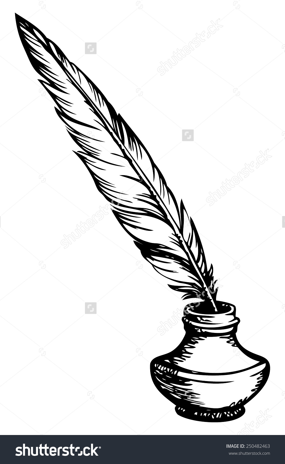 Goose Feather Elegant Oldfashioned Decorative Inkpot Stock Vector.