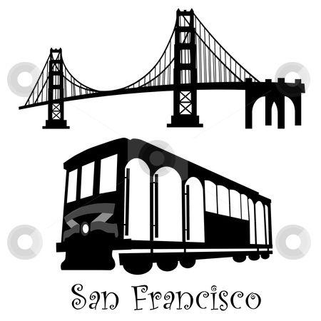 Golden Gate Bridge and trolley stencils..