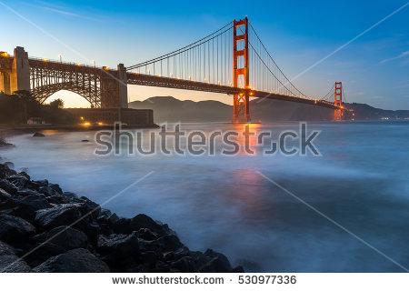 Beautiful Sunset Golden Gate Bridge Stock Photo 529380682.