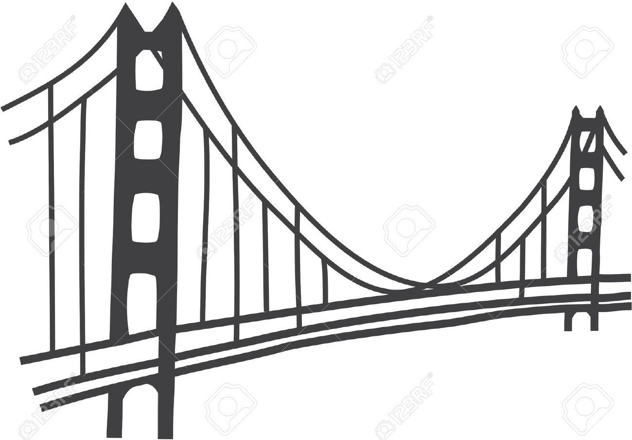 Simple golden gate bridge clipart.