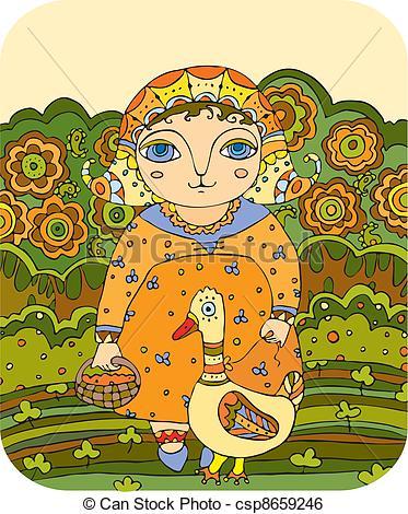 Clip Art Vector of Girl Goose Meadow Folk.
