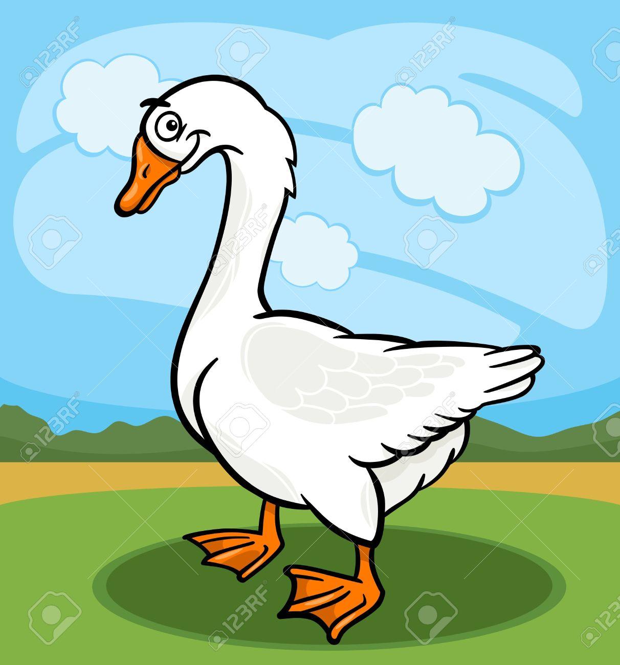 Cartoon Illustration Of Funny Comic Goose Farm Bird Animal Royalty.