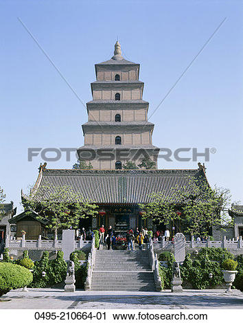 Stock Photography of China, Xian, Shaanxi, Big Goose Pagoda, Tang.