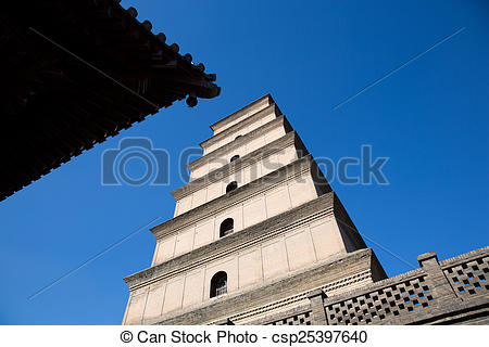 Stock Photo of Big Wild Goose Pagoda in southern Xi'an, China.
