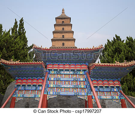 Stock Photography of Giant Wild Goose Pagoda (Big Wild Goose.