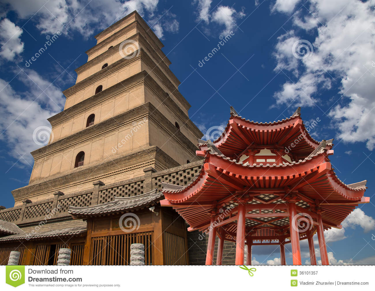 Giant Wild Goose Pagoda, Xian, China Royalty Free Stock.