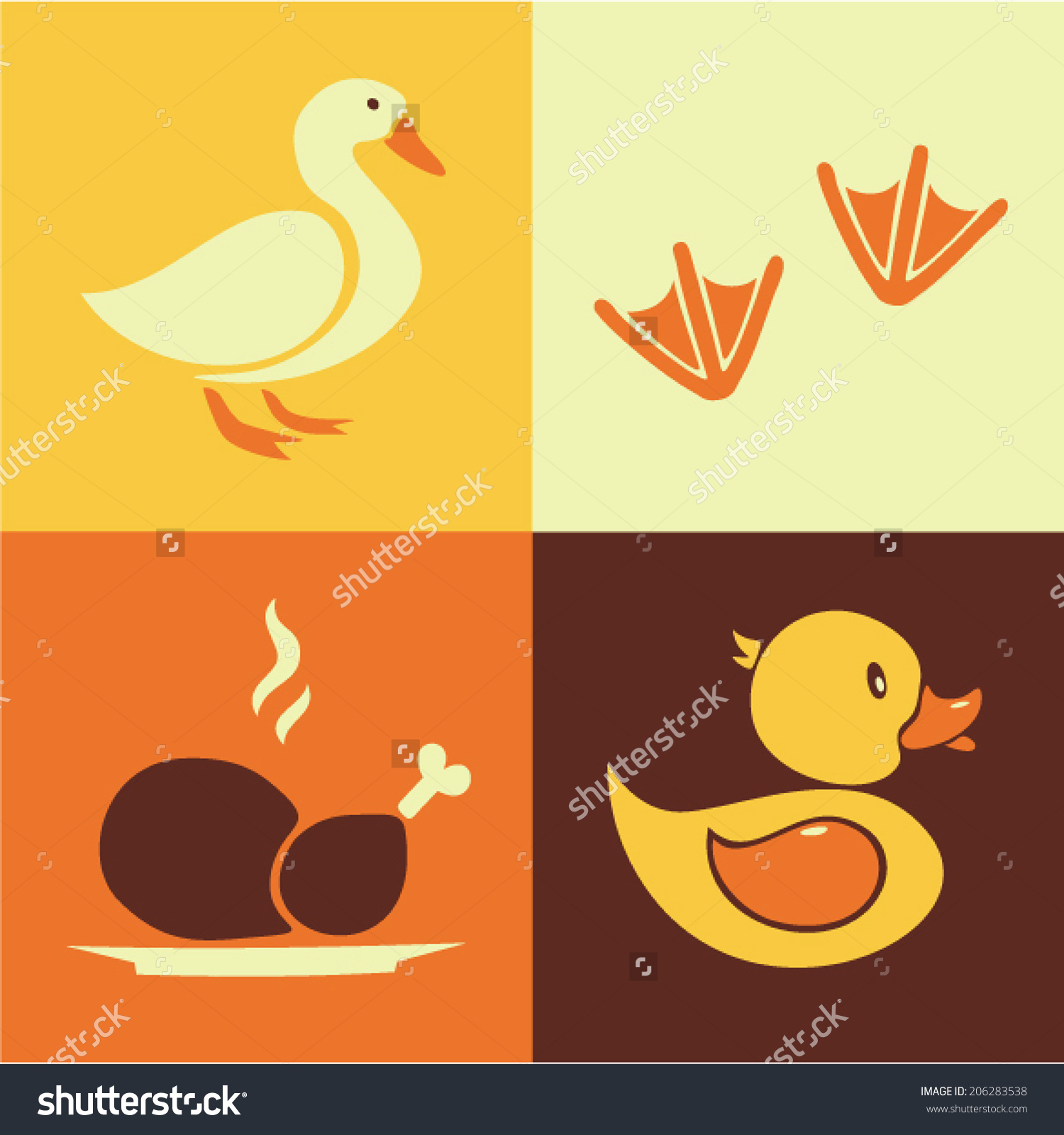 Vector Illustration Icon Set Duck Goose Stock Vector 206283538.