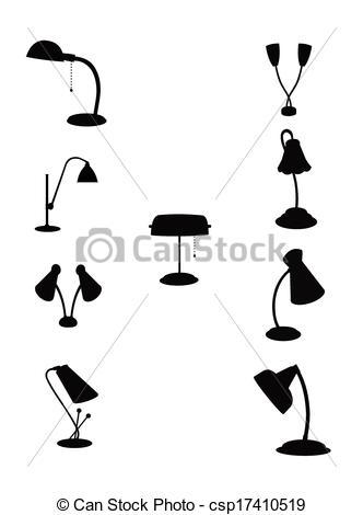 Vector Clip Art of retro gooseneck lamps.