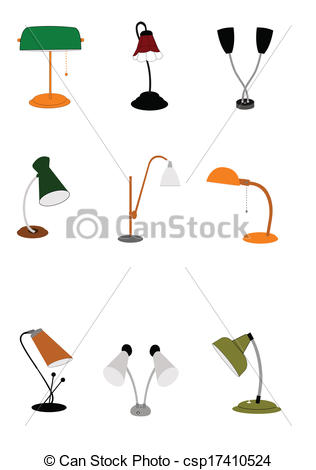 Vector Illustration of gooseneck lamps.