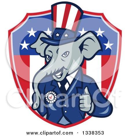 Clipart of a Retro Cartoon Republican GOP Party Elephant Uncle Sam.