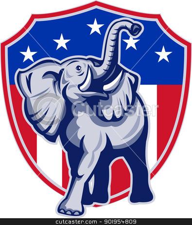 Republican Elephant Mascot USA Flag stock vector.