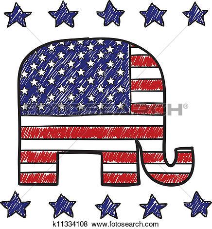 Clip Art of Republican party elephant sketch k11334108.